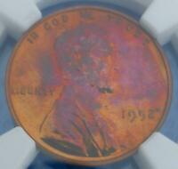1952 NGC PROOF 62 RED BROWN WHEAT CENT, PF 62 RB COIN, PINK COLOR TONE