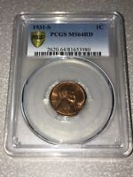 1931-S PCGS MINT STATE 64RD RED 1C LINCOLN CENT WHEAT EARS PENNY GOLD SHIELD LABEL PQ