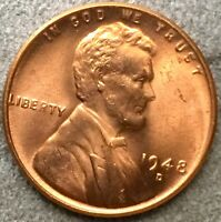 1948 D RD RED UNCIRCULATED BU LINCOLN WHEAT CENT PENNY X205 FREE SHIP
