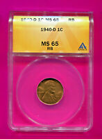 1940 D LINCOLN WHEAT CENT MINT STATE 65 RB ANACS PENNY BRILLIANT SPARKLING