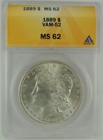 1889-P $1 MORGAN SILVER DOLLAR VAM-52 ANACS MINT STATE 62 6032825 DOUBLED EAR -  R6