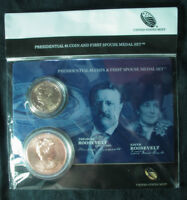 2013 THEODORE ROOSEVELT PRESIDENTIAL COIN & FIRST SPOUSE MEDAL SET XO7 FREE SHIP