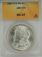 1887-O  $1 MORGAN SILVER DOLLAR ANACS MINT STATE 62 5350658 - LOOKS UNDERGRADED