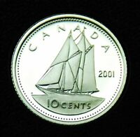 2001 CANADA 10  SILVER PROOF DIME   TAKEN FROM A PROOF SET