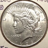 1926-S PEACE SILVER DOLLAR,  ALMOST UNCIRCULATED,  AU   1112-14