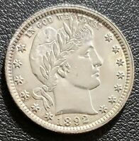 1892 25 CENTS  BARBER QUARTER UNCIRCULATED DETAILS