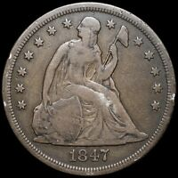 1847 SEATED LIBERTY SILVER DOLLAR $1 - DARKLY TONED