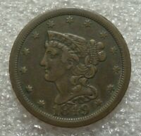 1849 BRAIDED HAIR HALF CENT, EXTRA FINE     KEY DATE, ONLY 39,864 MINTED