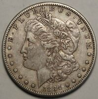 1884-S MORGAN DOLLAR, ALMOST UNCIRCULATED, ORIGINAL PROBLEM FREE BETTER DATE
