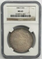 1880 S MORGAN SILVER DOLLAR 1 OZ $1 NGC MINT STATE 65 - GEM COLLECTIBLE