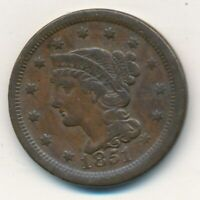 1851 BRAIDED HAIR LARGE CENT-  CIRCULATED LARGE CENT-SHIPS FREE INV:8