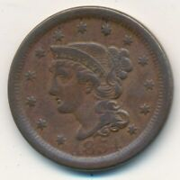 1854 BRAIDED HAIR LARGE CENT-  CIRCULATED LARGE CENT-SHIPS FREE INV:7