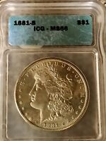 1881 S MORGAN SILVER $1 DOLLAR MINT STATE 66 ICG CERTIFIED