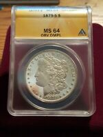 ANACS GRADED MINT STATE 64 DMPL OBV 1879 S MORGAN DOLLAR DEEP MIRRORS & CAMEO