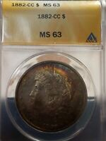 RAINBOW TONED ANACS MINT STATE 63 1882-CC MORGAN SILVER DOLLAR $1