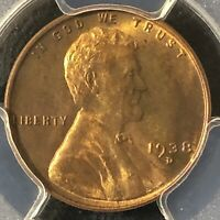 1938-D 1C RB LINCOLN WHEAT ONE CENT  PCGS MINT STATE 65RB             36402810