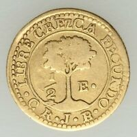 CENTRAL AMERICAN REPUBLIC GOLD 1/ 2 ESCUDO 1846 CR JB COSTA RICA CREZCA VF XF