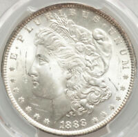 PCGS CERTIFIED MINT STATE 63 MORGAN SILVER DOLLAR 1888 DOUBLED EAR, VAM-11, TOP 100 BRITE