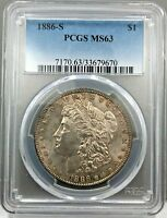 1886-S $1 MORGAN SILVER DOLLAR PCGS MINT STATE 63 CHOICE UNCIRCULATED