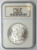 1882 S MORGAN SILVER DOLLAR NGC MINT STATE 64  104687-12D