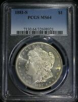 1881 S MORGAN SILVER DOLLAR PCGS MINT STATE 64 LUSTROUS PROOFLIKE OBV. FLASHY COIN