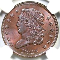 1828 C 3 NGC MS 64  BN 13 STARS CLASSIC HEAD HALF CENT COIN 1/2C