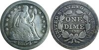 1854-O ARROWS 10C SEATED LIBERTY DIME FINE DETAILS CLEANED