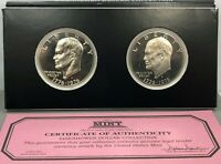 2 1976-S PROOF IKE EISENHOWER DOLLAR COLLECTION FIRST COMMEMORATIVE MINT COA