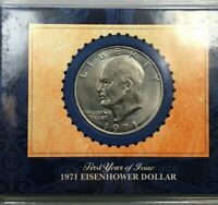1971 FIRST YEAR OF ISSUE EISENHOWER DOLLAR WITH COA  IKE $1  COOL