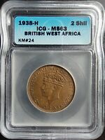 1938-H BRITISH WEST AFRICA 2 SHILLINGS ICG MINT STATE 63