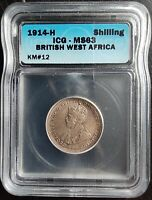 1914-H BRITISH WEST AFRICA SHILLING ICG MINT STATE 63
