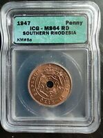 1947 SOUTHERN RHODESIA PENNY ICG MINT STATE 64RD