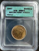 1947 BRITISH WEST AFRICA SHILLING ICG MINT STATE 64