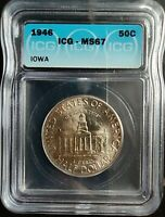 1946 50 CENTS IOWA ICG MINT STATE 67