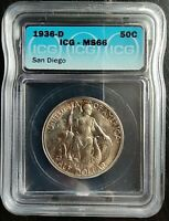 1936-D 50 CENTS SAN DIEGO ICG MINT STATE 66