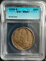 1936-S 50 CENTS ARKANSAS ICG MINT STATE 67