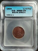 1924 SOUTH AFRICA 1/4 PENNY ICG MINT STATE 65BN