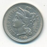 1865 THREE CENT 3 CENT NICKEL-  GENTLY CIRCULATED TYPE COIN-SHIPS FREE