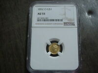 1852 O US ONE $1 GOLD LIBERTY TYPE 1 AU55 NEW ORLEANS NGC NI