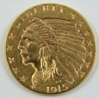 U.S. 1915 INDIAN HEAD $2.50 GOLD COIN .12094 OZ  900 GOLD SE