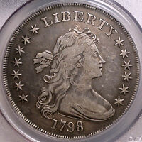 1798 DRAPED BUST SILVER DOLLAR, CHOICE  FINE PCGS CERTIFIED OLD TYPE