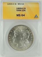 1899-O $1 MORGAN SILVER DOLLAR VAM-10A ANACS MINT STATE 64 6032837   HARD TO FIND R6