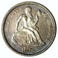 1876-CC SEATED DIME   TONED AU ABOUT UNCIRCULATED  PRICED RIGHT