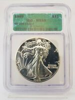 1989 1 OZ AMERICAN SILVER EAGLE $1 COIN ICG MINT STATE 69 3IC
