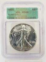1991 1 OZ AMERICAN SILVER EAGLE $1 COIN ICG MINT STATE 69 5IC