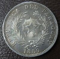 PARAGUAY SILVER COIN 1 PESO KM5  XF  1889