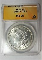 1902 O BU MORGAN DOLLAR VAM 73 DIE 1 DOUBLED PROFILE 2 OLIVE REV ONLY 3 KNOWN