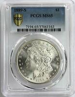 1889 S MORGAN SILVER DOLLAR $1 MINT STATE 65 PCGS