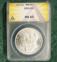 1901 O ANACS CERTIFIED MINT STATE 63 MORGAN SILVER DOLLAR, MINT STATE 63 SILVER MORGAN $1 COIN