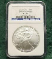 2007 NGC MINT STATE 69 EARLY RELEASE SILVER EAGLE DOLLAR, 1 OUNCE FINE SILVER $1 COIN